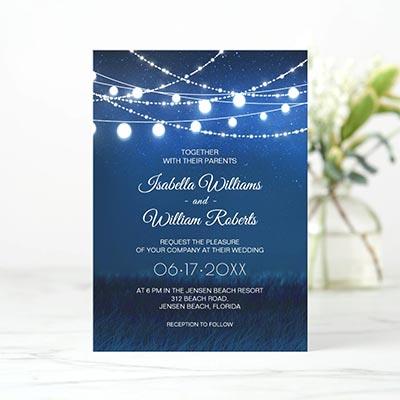 Elegant-Blue-Night-&-Silver-String-Lights-Wedding-Invitation