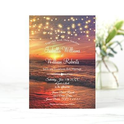 Modern-Sunset-Beach-String-Lights-Summer-Wedding-Invitation