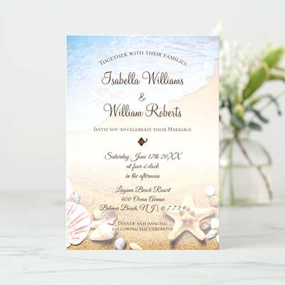 Modern Tropical Beach Starfish Wedding Invitation